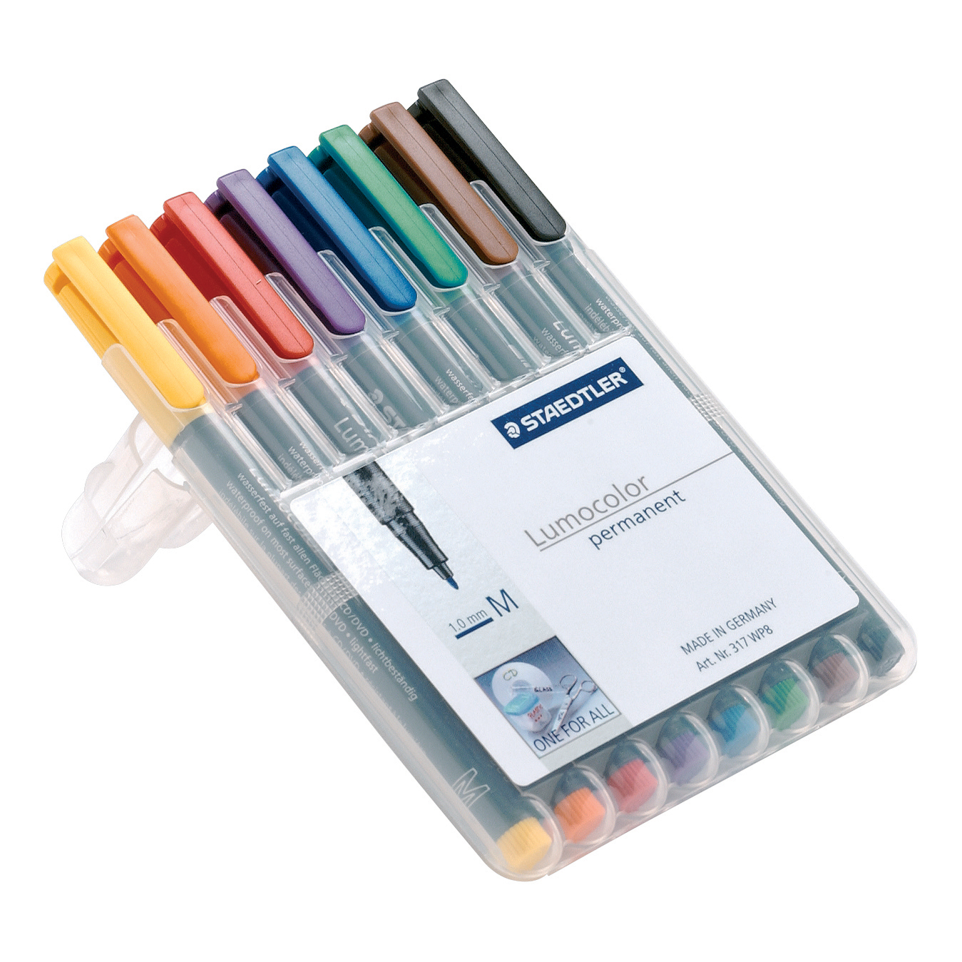 Staedtler 318 Lumocolor Pen Permanent Fine 0.6mm Assorted Ref 318WP8 Wallet 8