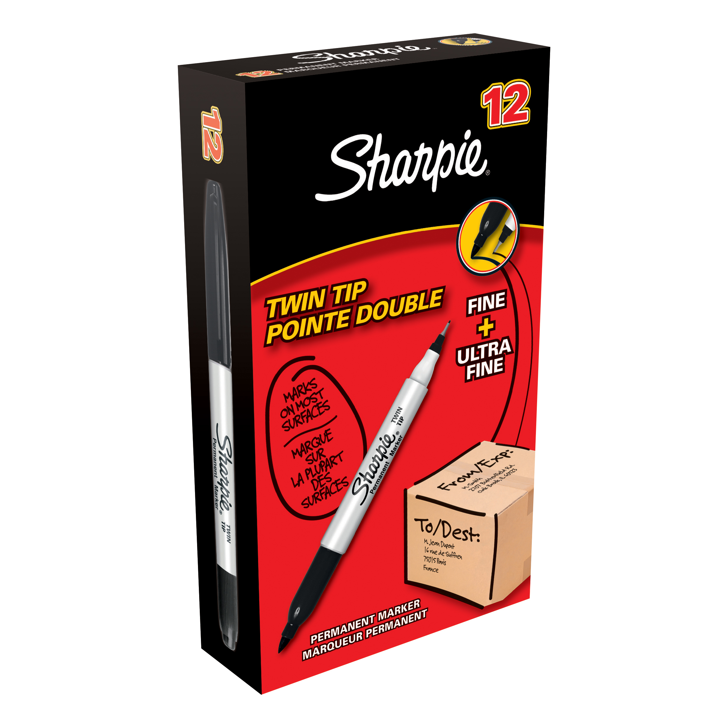 Sharpie Twin Tip Permanent Marker Alcohol-based 0.9mm and 0.5mm Line Black Ref S0811100 [Pack 12]