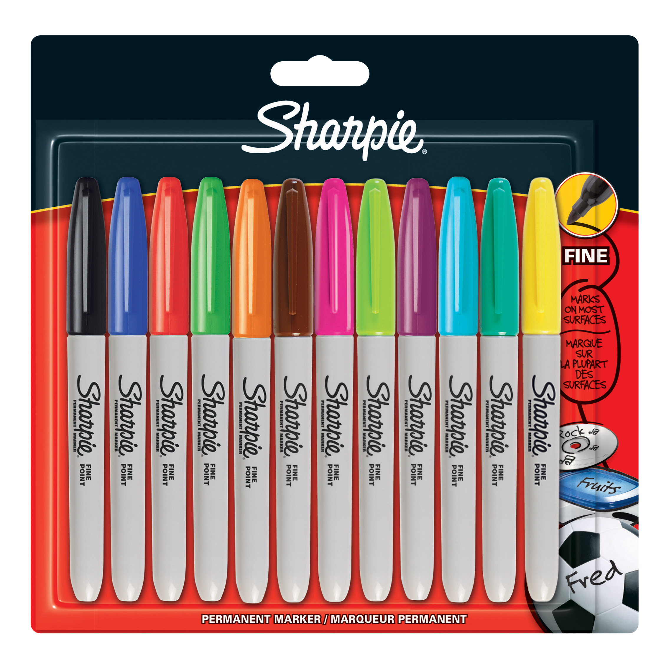 Sharpie Permanent Marker Fine Tip 0.9mm Assorted Ref 1986438 [Pack 12]
