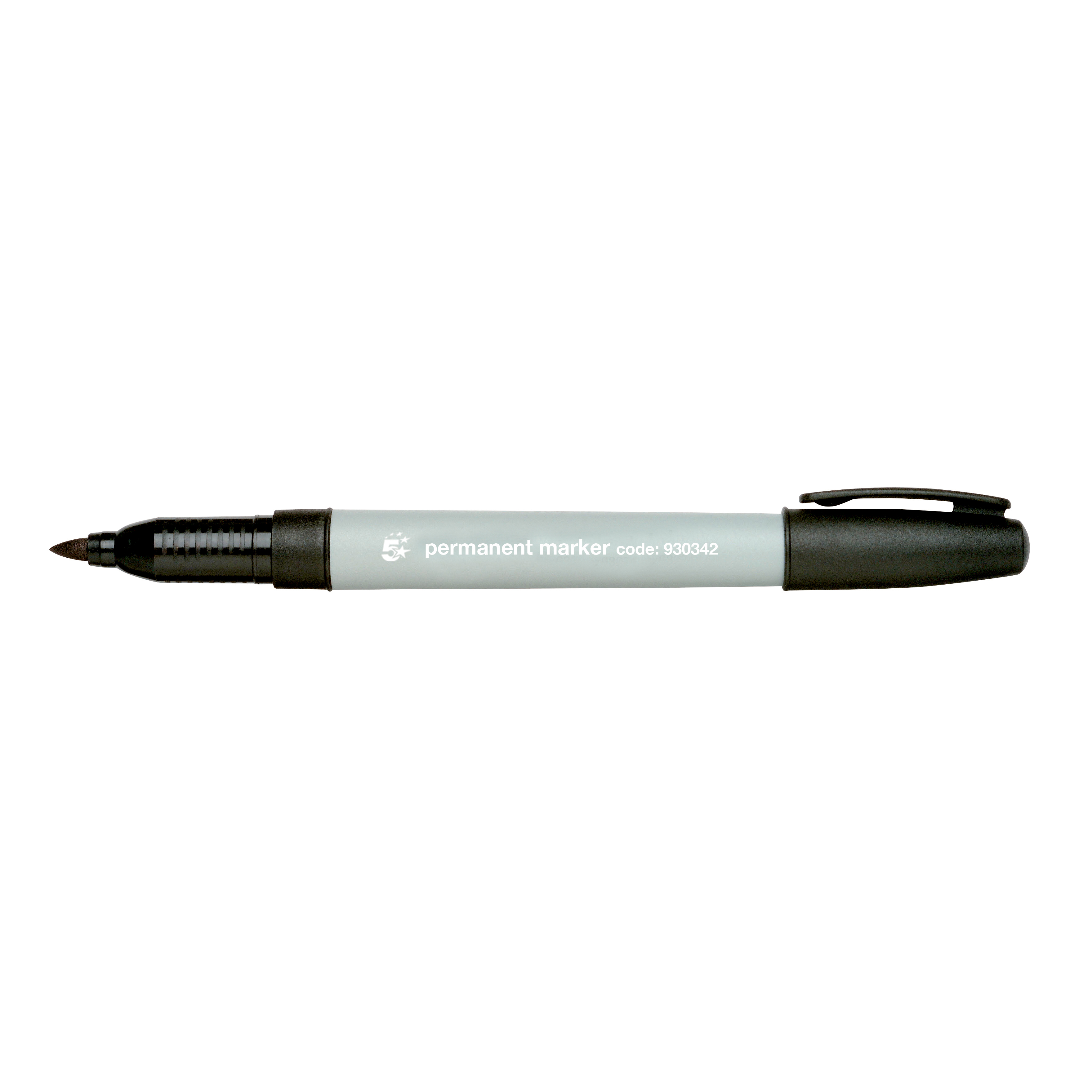 5 Star Office Permanent Marker Fine Tip 0.8mm Line Black [Pack 10]