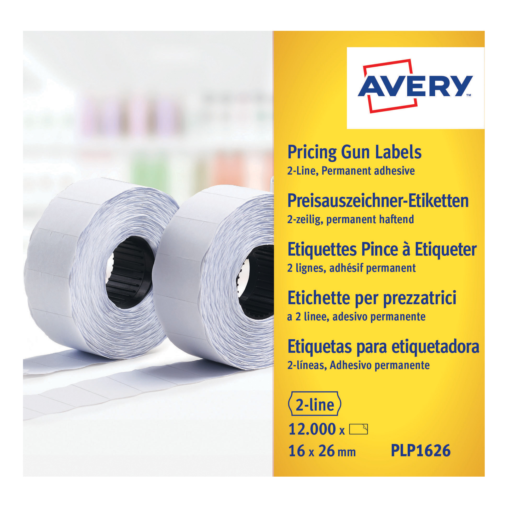 Avery Labels for Labelling Gun 2-Line Removable White 16x26mm 1200 per Roll Ref PLR1626 Pack 10