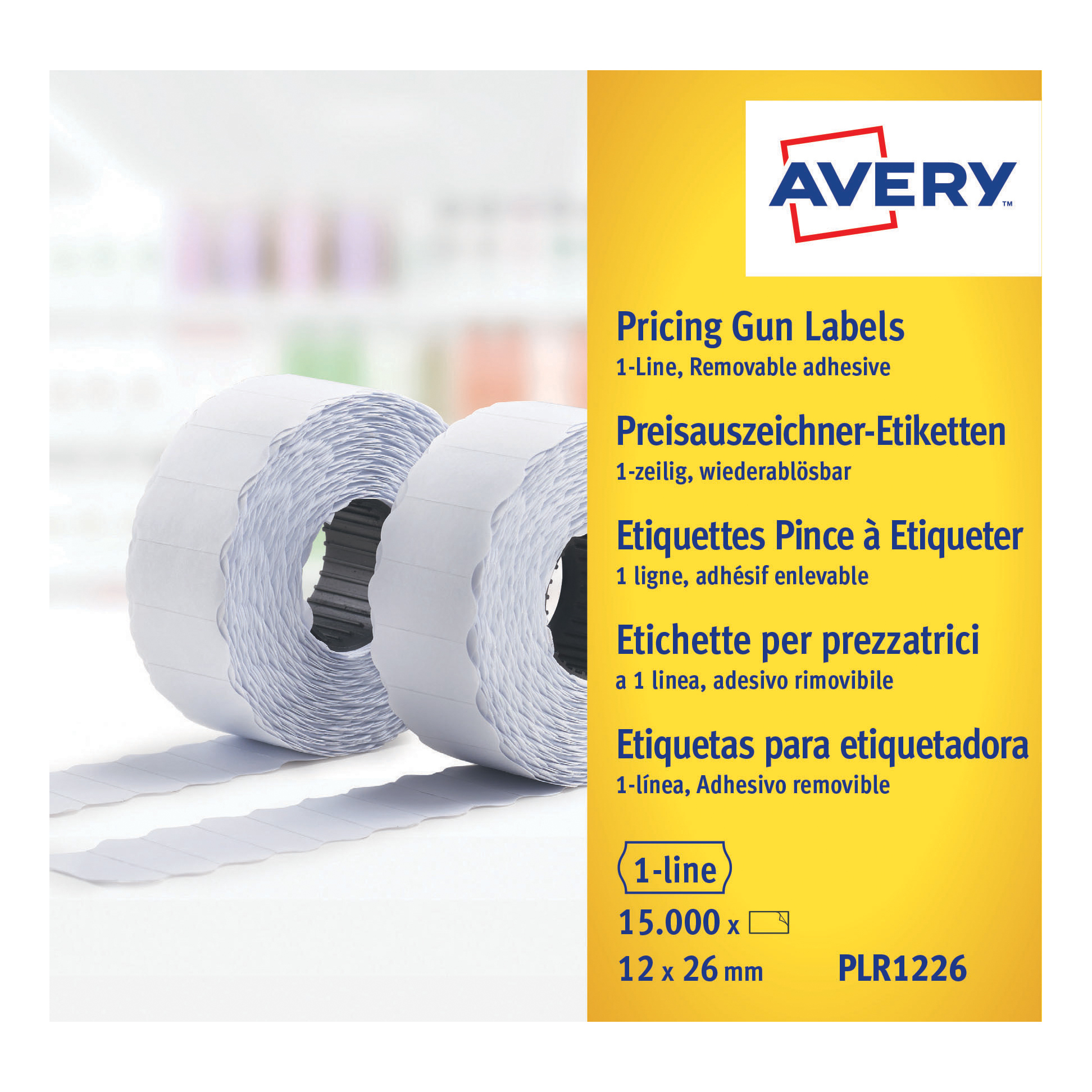 Avery Labels for Labelling Gun 1-Line Removable White 12x26mm 1500 per Roll Ref PLR1226 Pack 10