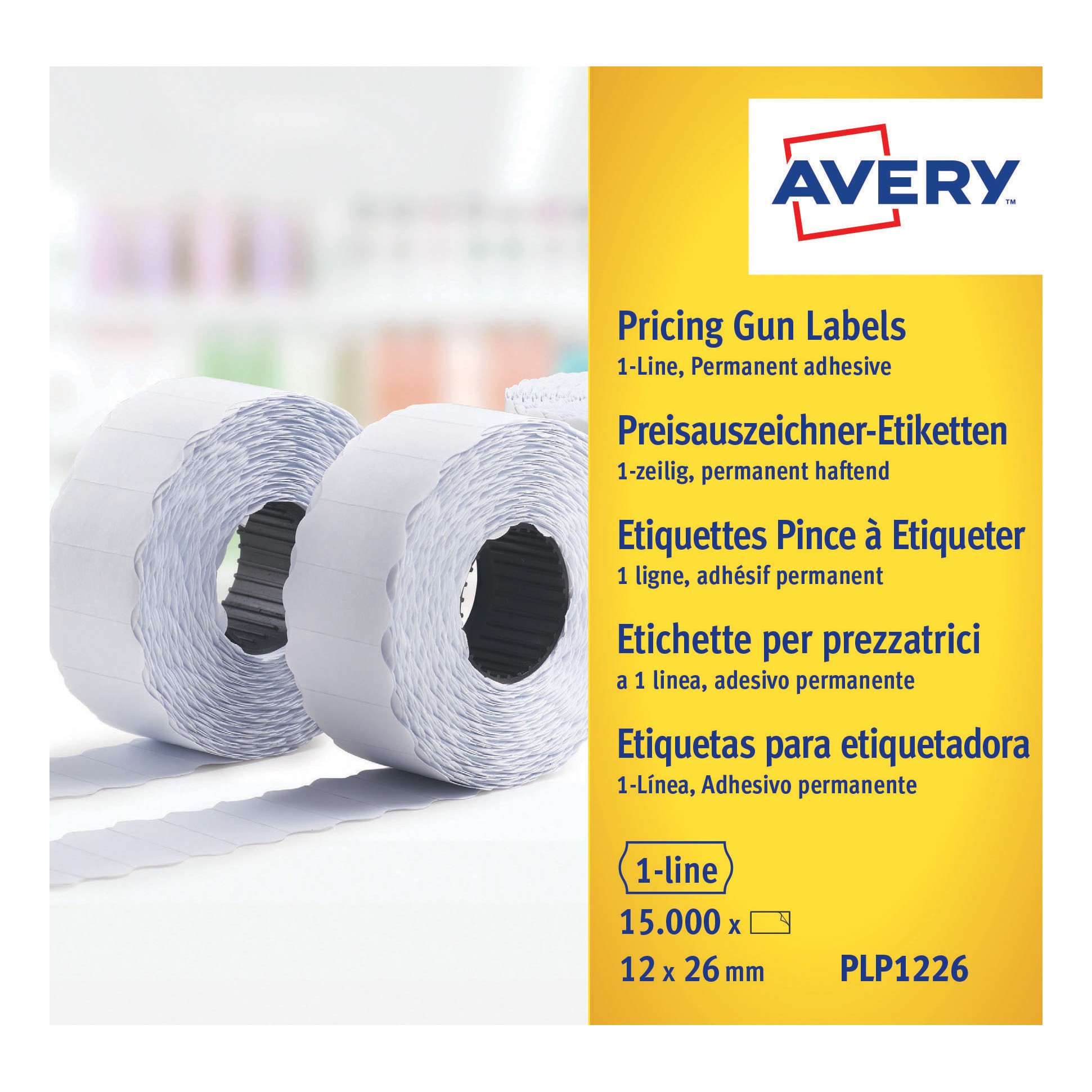 For Labelling Guns Avery Labels for Labelling Gun 1-Line Permanent White 12x26mm 1500 Per Roll Ref PLP1226 Pack 10