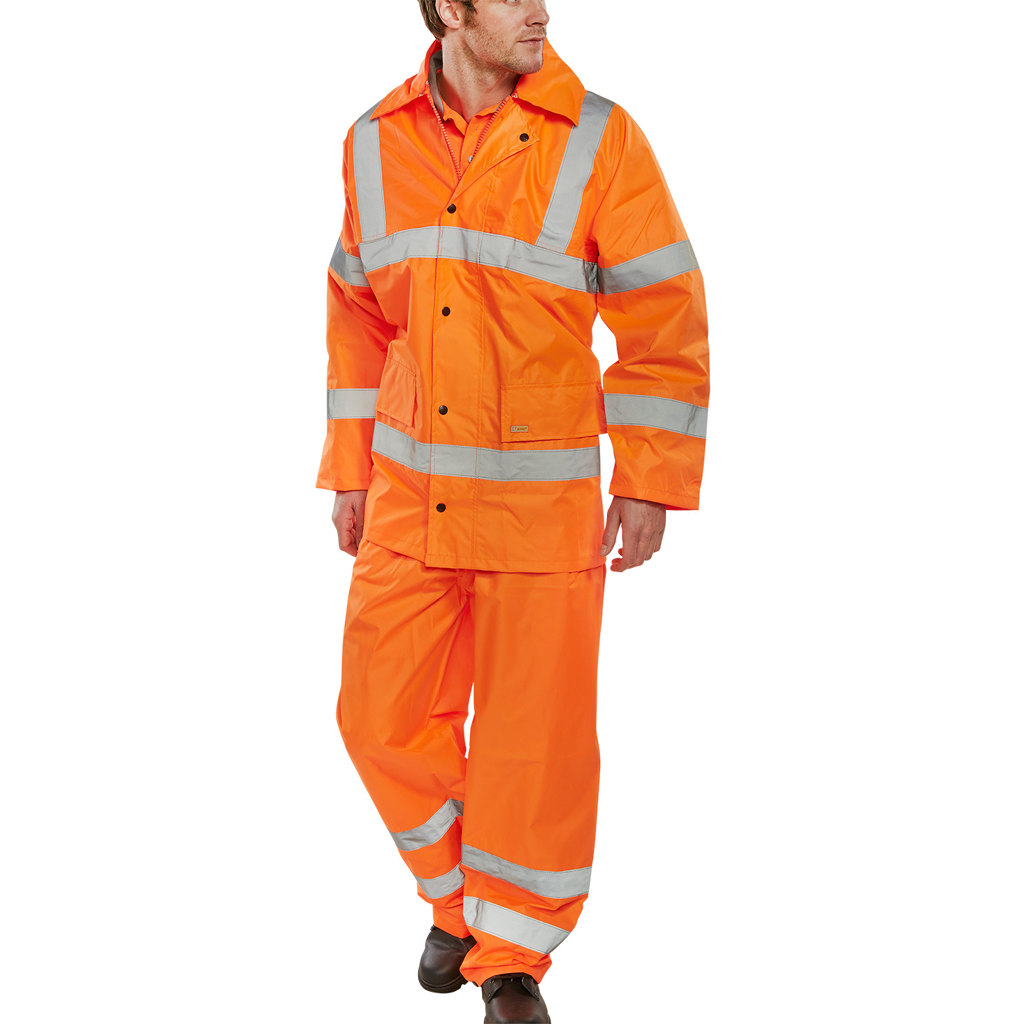 BSeen Hi-Vis L/Wt Suit Jkt/Trs EN ISO 20471 EN 343 Medium Orange Ref TS8ORM *Up to 3 Day Leadtime*