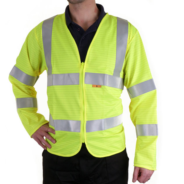 Click Fire Retardant Hi-Vis Jerkin Long Slv Med Saturn Yellow Ref CFRPKJSYM *Up to 3 Day Leadtime*