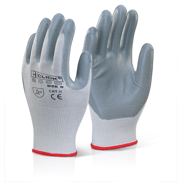 Click2000 Nitrile Foam Polyester Glove M Grey Ref EC6GYM [Pack 100] Up to 3 Day Leadtime