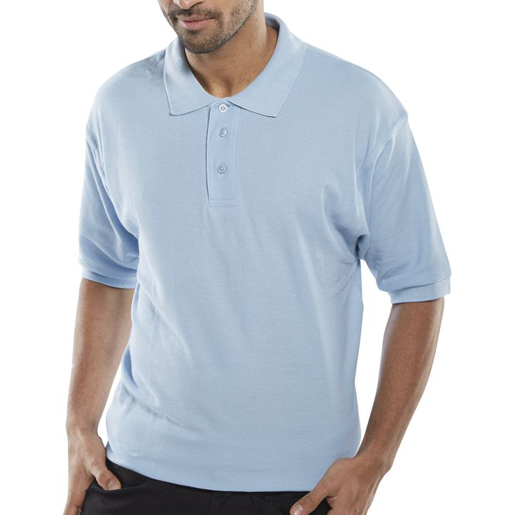 Mens shirts Click Workwear Polo Shirt Polycotton 200gsm XS Sky Blue Ref CLPKSSXS *Up to 3 Day Leadtime*