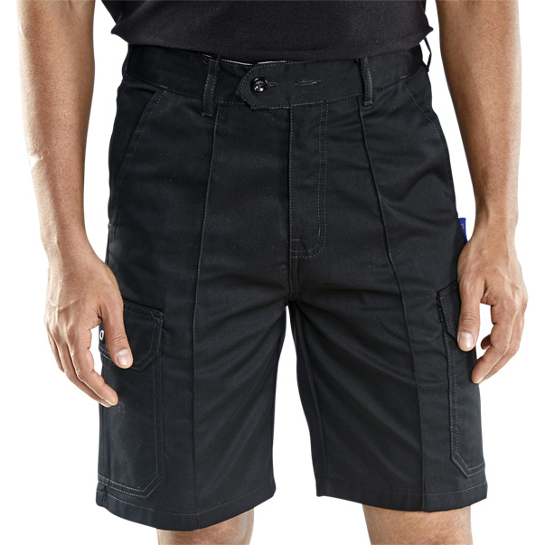 Super Click Workwear Shorts Cargo Pocket Size 34 Black Ref CLCPSBL34 *Up to 3 Day Leadtime*