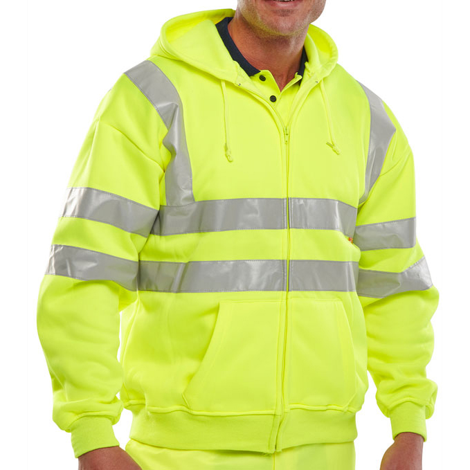 B-Seen Sweatshirt Hooded Hi-Vis Polyester Pockets L Saturn Yellow Ref BSHSSENSYL *Up to 3 Day Leadtime*