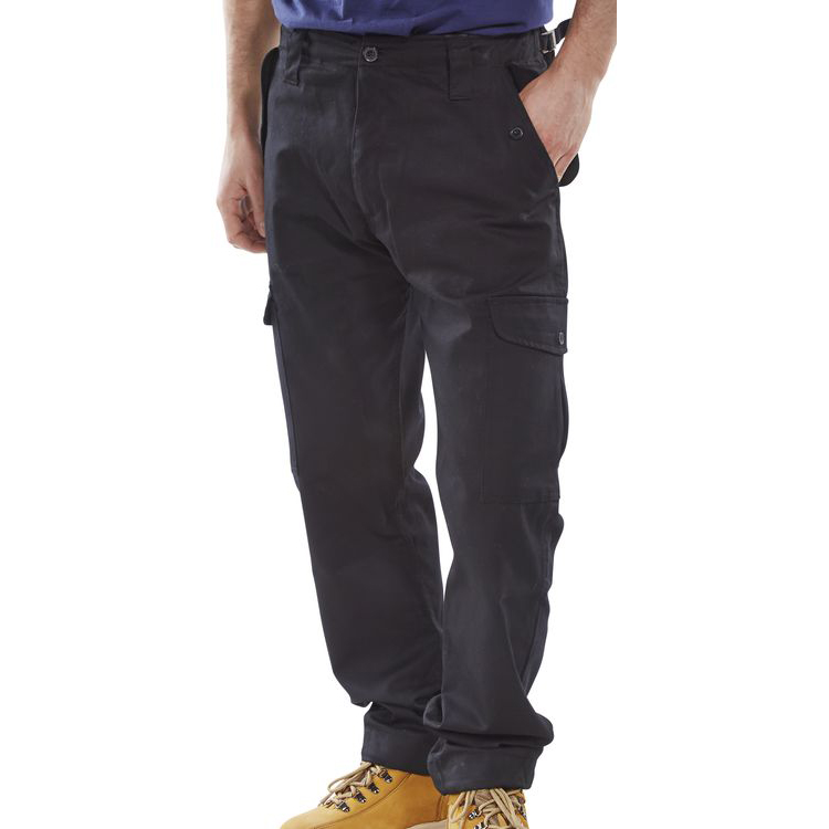 Click Workwear Combat Trousers Polycotton Size 30 Black Ref PCCTBL30 Up to 3 Day Leadtime