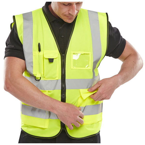 B-Seen Executive High Visibility Waistcoat XL Saturn Yellow Ref WCENGEXECXL *Up to 3 Day Leadtime*