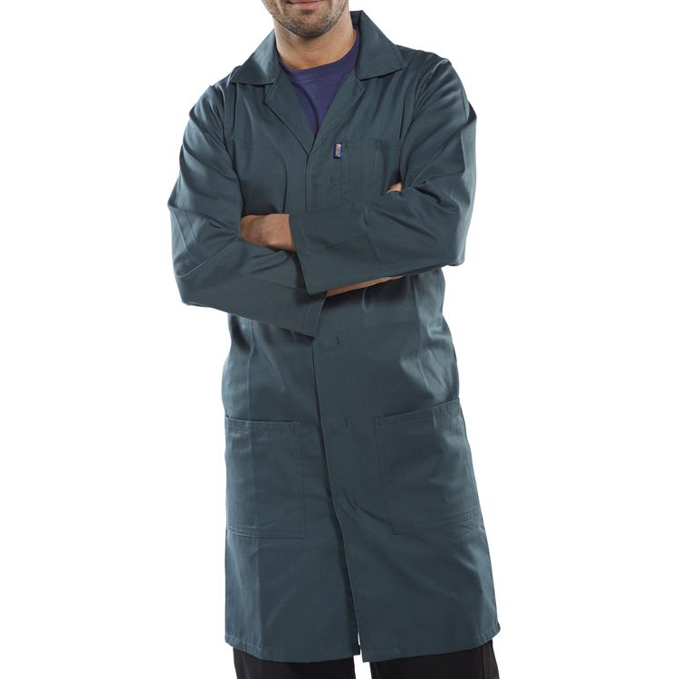 Click Workwear Poly Cotton Warehouse Coat 50in Spruce Green Ref PCWCS50 Up to 3 Day Leadtime