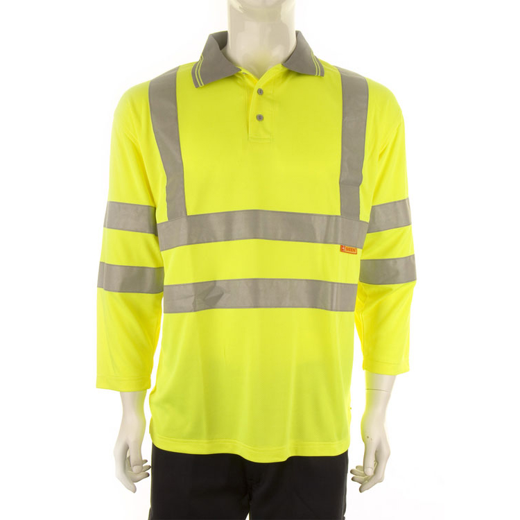 Mens shirts B-Seen Polo Shirt 3/4 Sleeve Polyester XL Saturn Yellow Ref BPK3QSYXL *Up to 3 Day Leadtime*