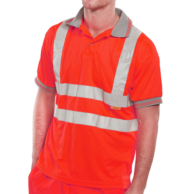 B-Seen Polo Shirt Hi-Vis Short Sleeved L Red Ref BPKSENREL *Up to 3 Day Leadtime*