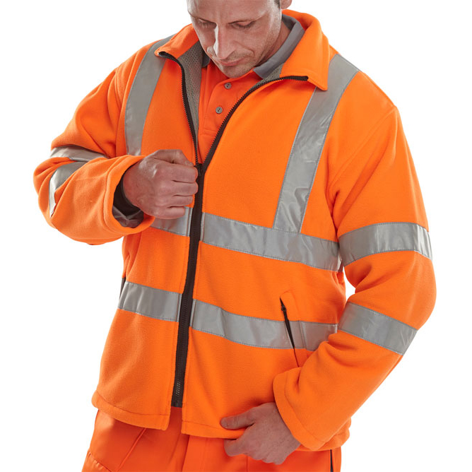 B-Seen High Visibility Carnoustie Fleece Jacket Small Orange Ref CARFORS *Up to 3 Day Leadtime*
