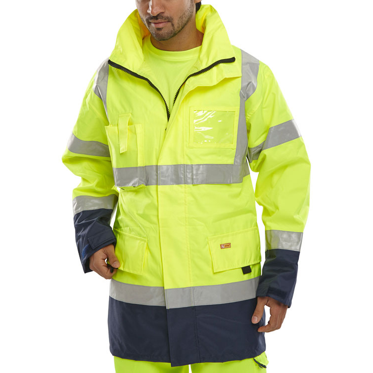 B-Seen Hi-Vis Two Tone Breathable Traffic Jacket 6XL Yellow/Navy Ref BD109SYN6XL *Up to 3 Day Leadtime*