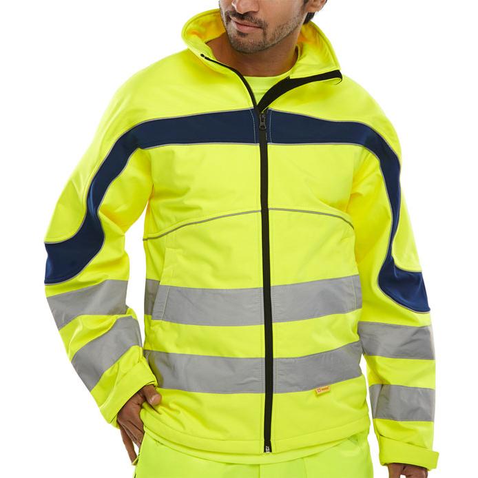 B-Seen Eton High Visibility Soft Shell Jacket 3XL Saturn Yellow/Navy Ref ET40SYXXXL Upto 3 Day Leadtime