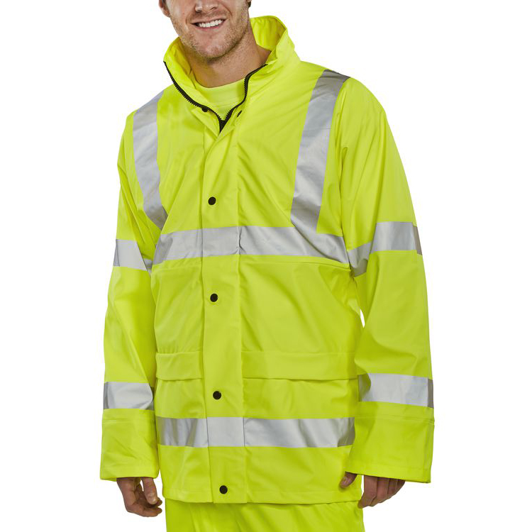 BSeen High-Vis Super B-Dri Breathable Jacket Small Saturn Yellow Ref PUJ471SYS *Up to 3 Day Leadtime*