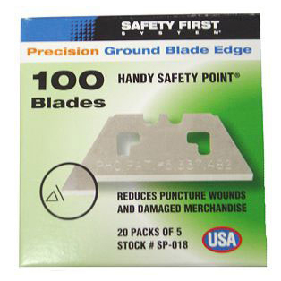 Knife blades Pacific Handy Cutter Safety Point Blades Silver Ref SP-018 [Pack 100] *Up to 3 Day Leadtime*
