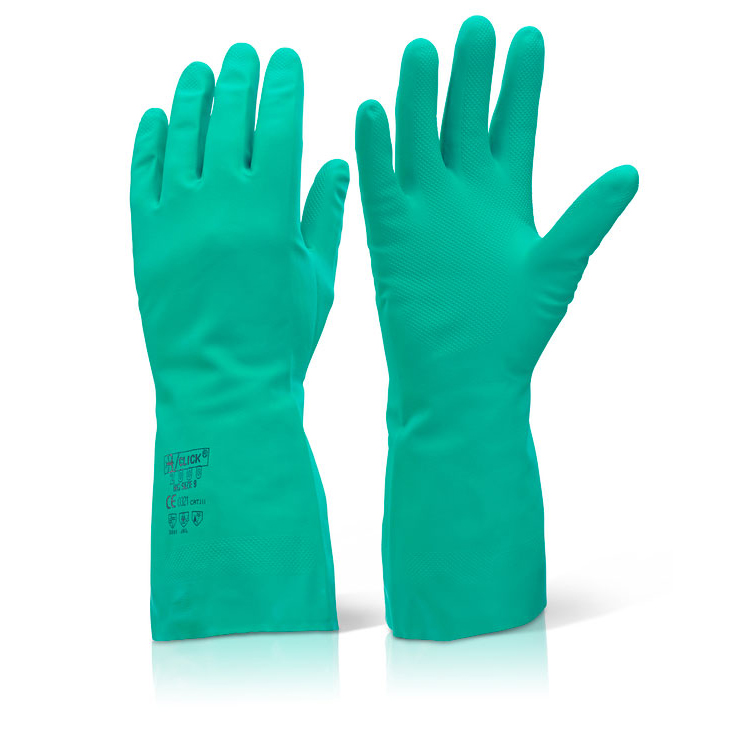 Click2000 Nitrile Gauntlet Flocked Lined Size 8 Medium Green Ref NGM [Pack 10] *Up to 3 Day Leadtime*