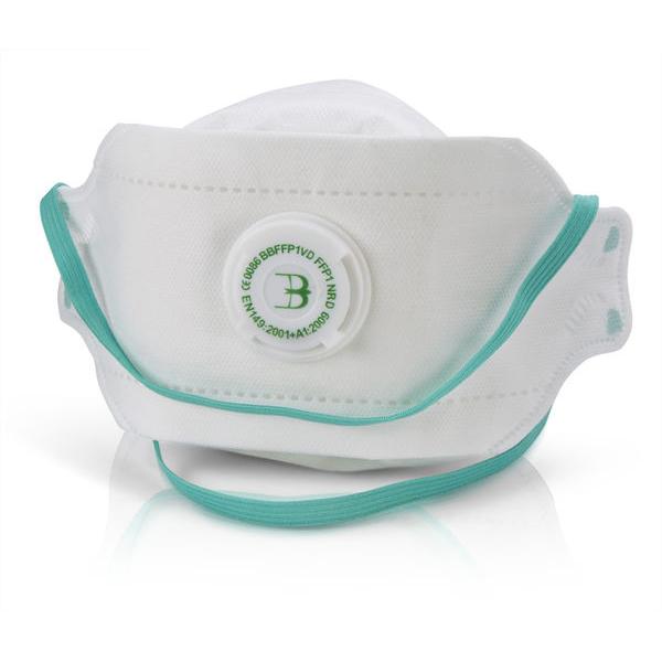 B-Brand P1 Premium Fold-flat Valve Mask White Ref BBFFP1VD [Pack 20] Up to 3 Day Leadtime