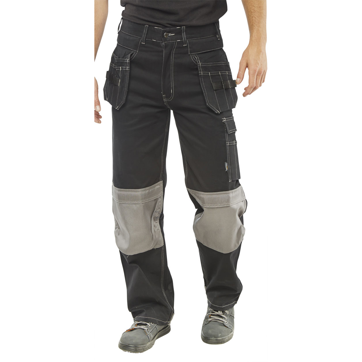 Click Workwear Kington Trousers Multipurpose Pockets Black 40 Long Ref KMPTBL40T Up to 3 Day Leadtime