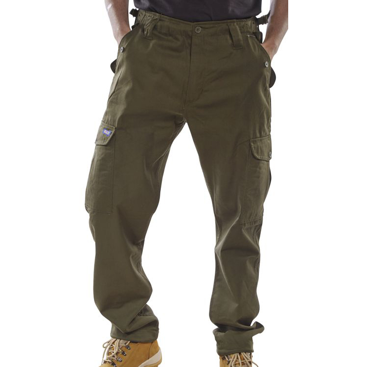 Click Workwear Combat Trousers Polycotton Olive Green 38 Ref PCCTO38 *Up to 3 Day Leadtime*