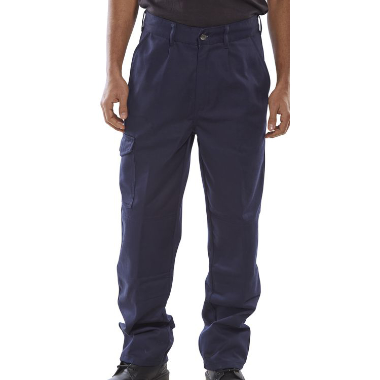 Click Heavyweight Drivers Trousers Flap Pockets Navy Blue 36 Ref PCT9N36 *Up to 3 Day Leadtime*