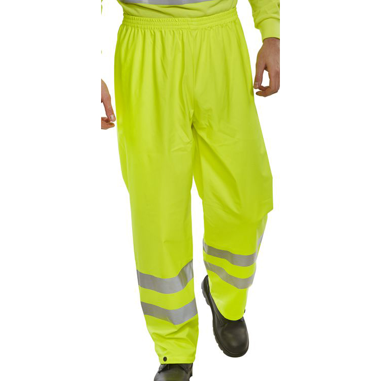 BSeen Over Trousers PU Hi-Vis Reflective 4XL Saturn Yellow Ref PUT471SY4XL Up to 3 Day Leadtime