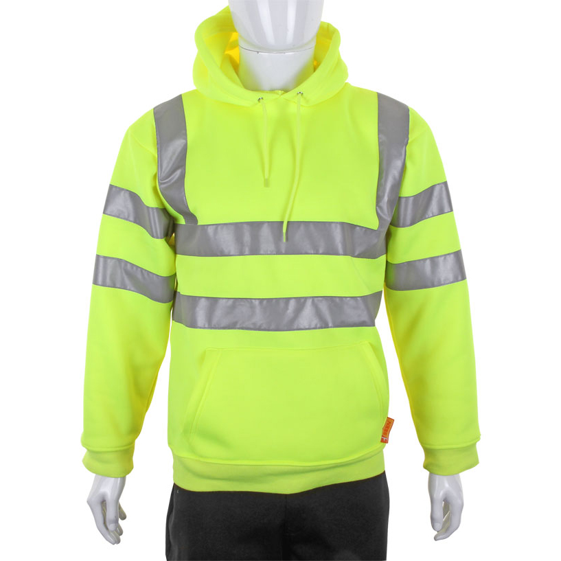 B-Seen Sweatshirt Hooded Hi-Vis 280gsm Large Saturn Yellow Ref BSSSH25SYL Up to 3 Day Leadtime