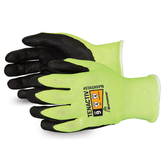 Superior Glove Tenactiv Hi-Vis Micropore Nitrile Grip 5 Yellow Ref SUSTAGHVPN05 *Up to 3 Day Leadtime*