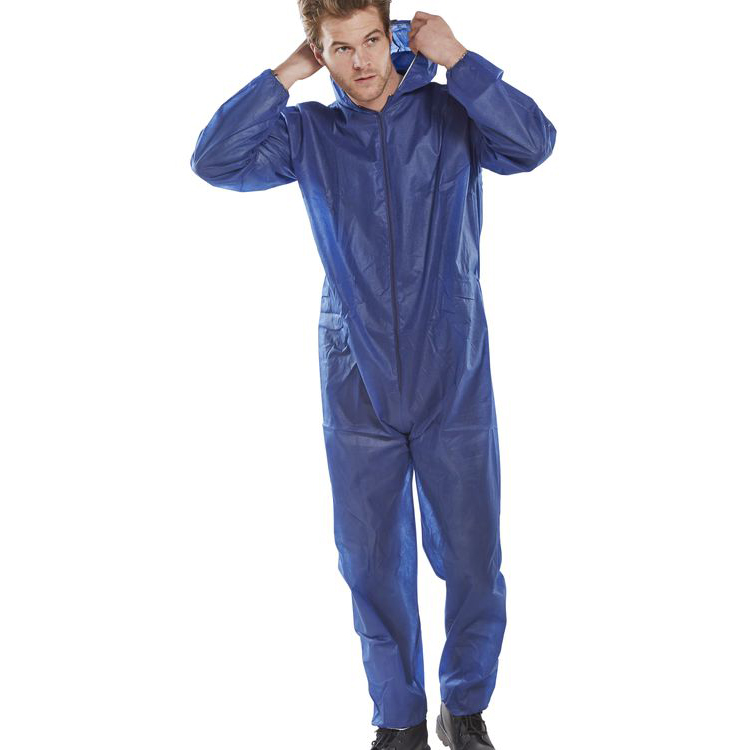 Protective coveralls Click Once Polyprop Disposable Boilersuit Large Blue Ref PDBSHNL Pack 50 *Up to 3 Day Leadtime*