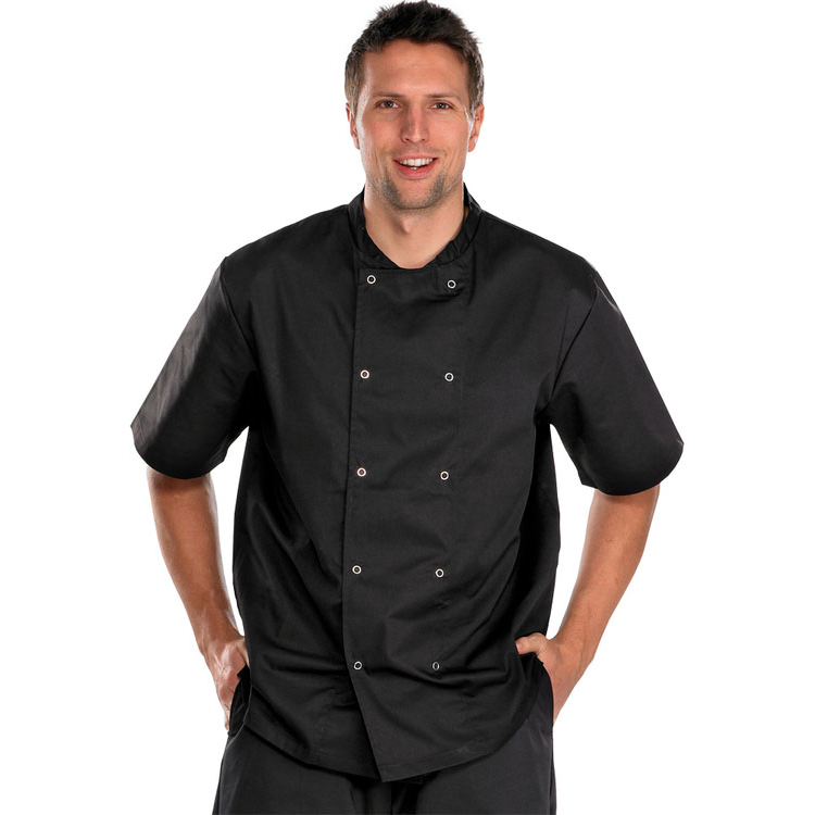 Chefs Click Workwear Chefs Jacket Short Sleeve XL Black Ref CCCJSSBLXL*Up to 3 Day Leadtime*