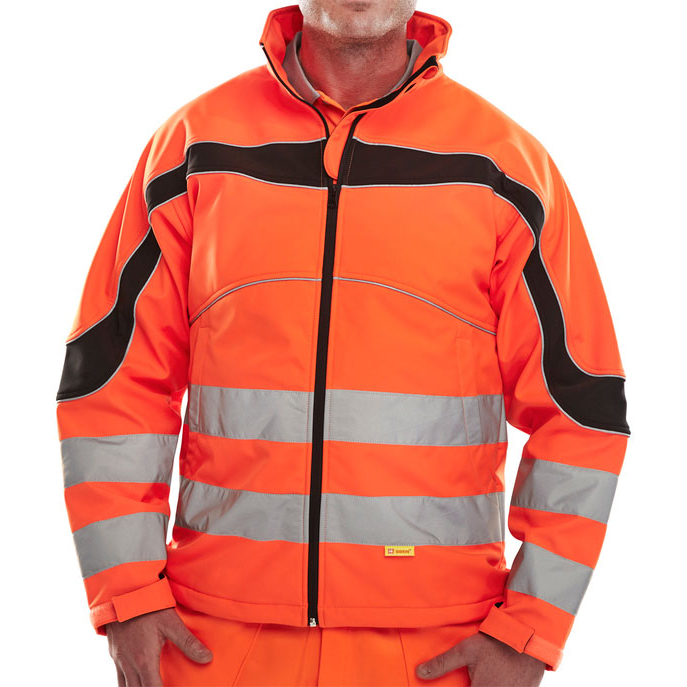 Bodywarmers B-Seen Eton High Visibility Soft Shell Jacket 4XL Orange/Black Ref ET41OR4XL *Up to 3 Day Leadtime*