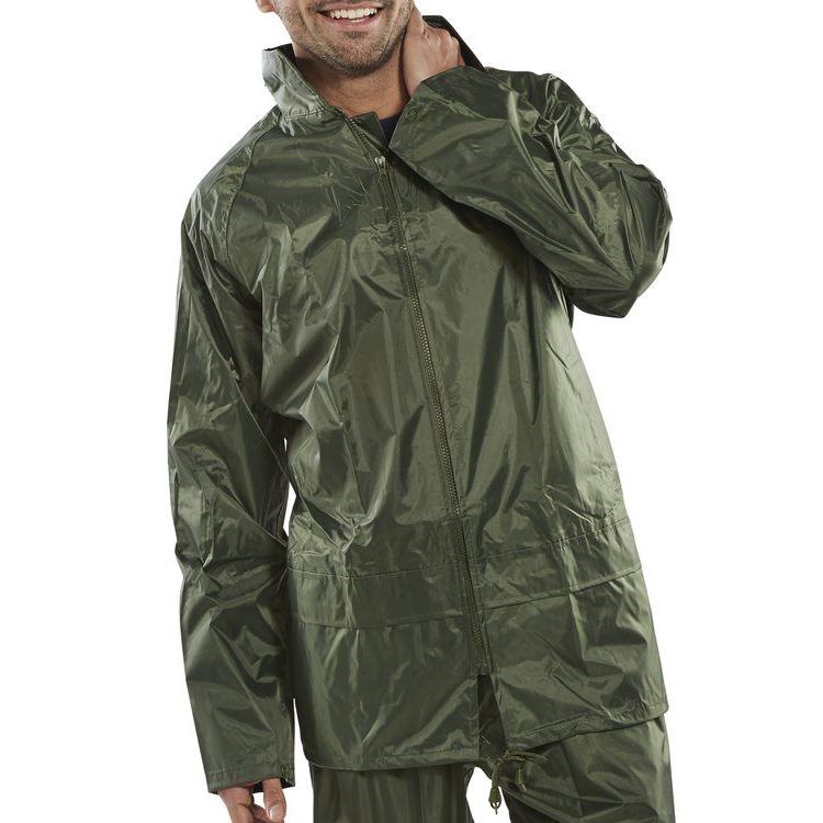 Weatherproof B-Dri Weatherproof Jacket with Hood Lightweight Nylon Large Olive Green Ref NBDJOL *Up to 3 Day Leadtime*