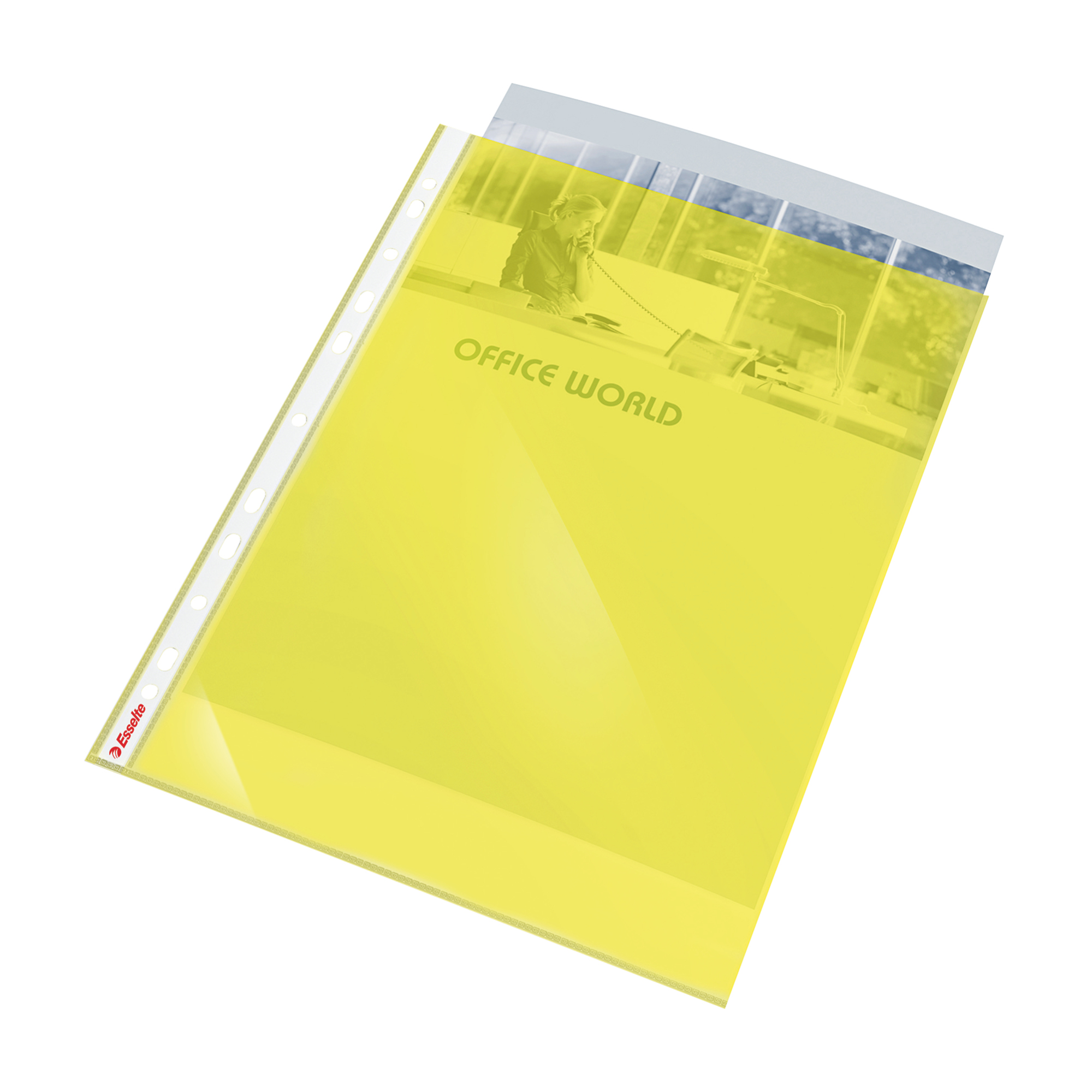 Esselte Coloured Punched Pocket Polypropylene Top-opening 55 Micron A4 Yellow Ref 47201 [Pack 10]