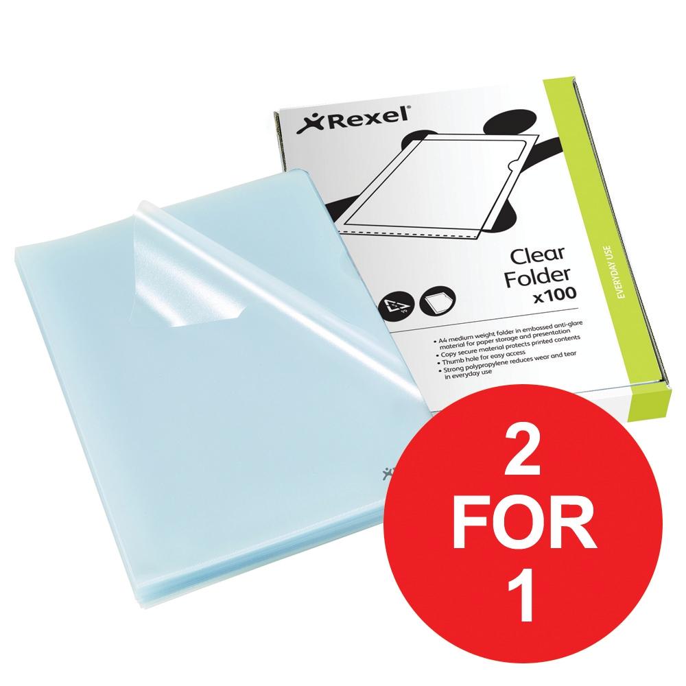 Image for Rexel Cut Flush Folder Polypropylene Copy-secure A4 Clear Ref 12215 [Pack 100] [2 For 1] Jan-Mar 2018