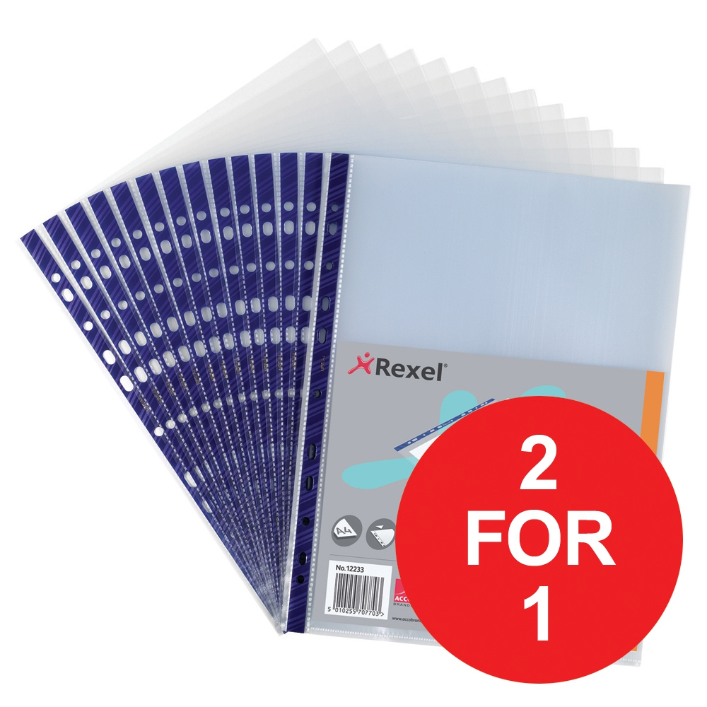 Image for Rexel Nyrex Pocket Reinforced Blue Strip Top-opening A4 Clear Ref12233 [Pack of 25][2 For 1] Jan-Mar 2018