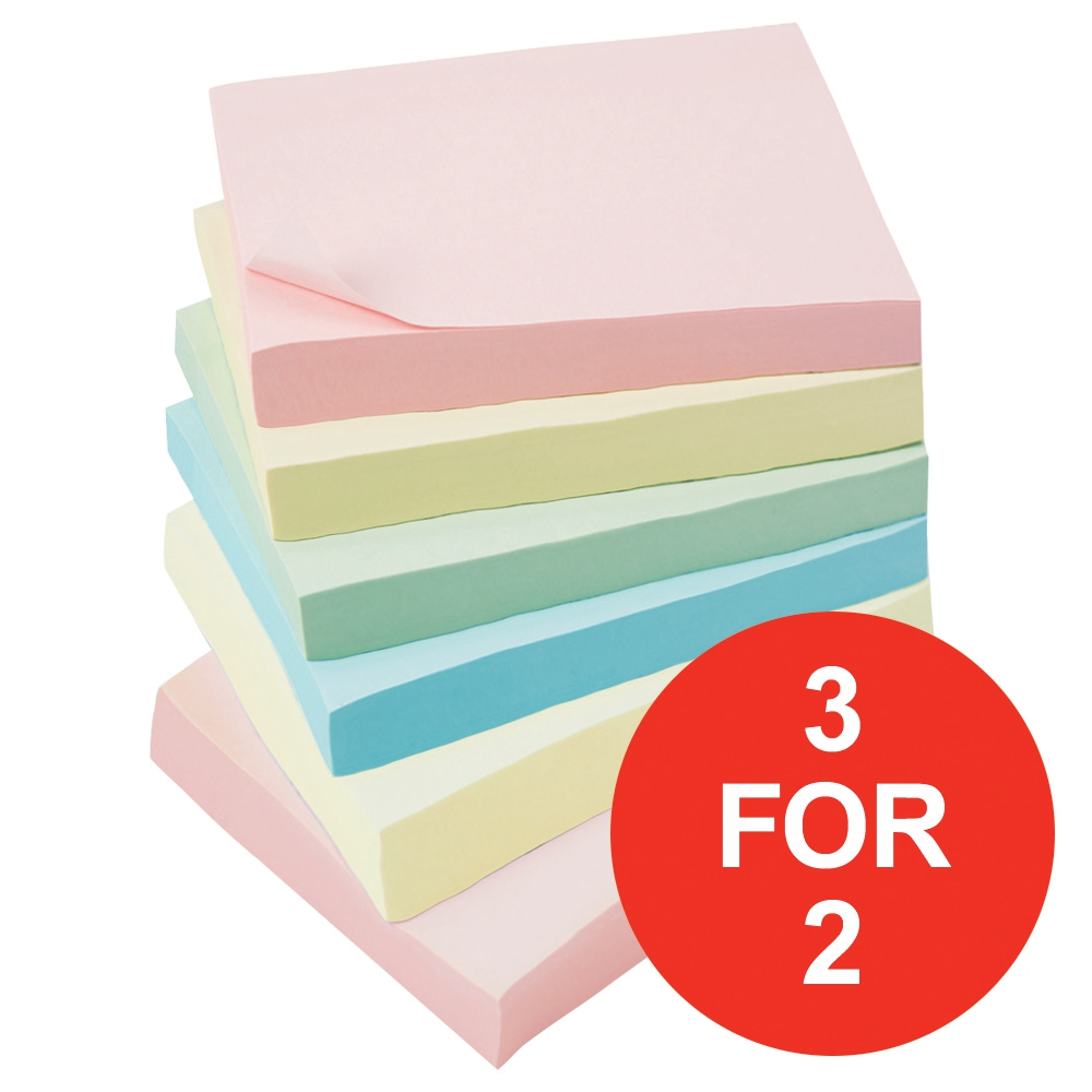 Image for Business Extra Sticky Re-Move Notes 4 Assorted Pastel Colours [Pack 6] [3 For 2] Mar 2018