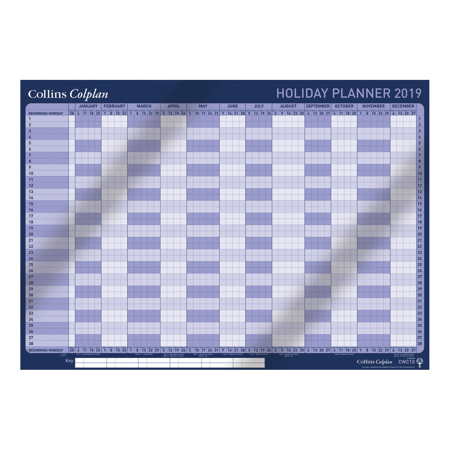 Collins Colplan 2019 Holiday Wall Planner Unmounted Landscape A1 594x840mm Blue Ref CWC10 2019