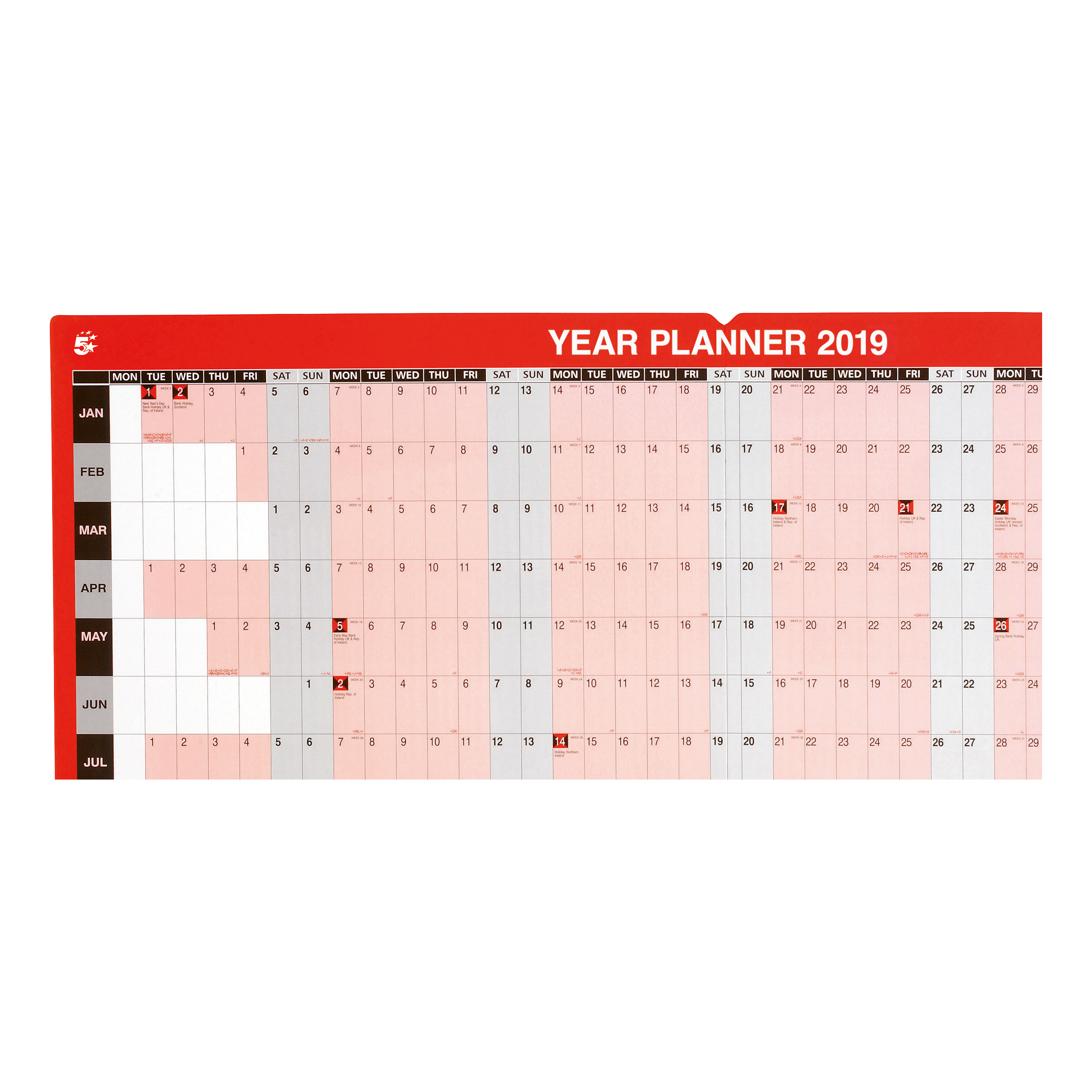 5 Star Office 2019 Year Planner Unmounted Landscape with Planner Kit 915x610mm Red