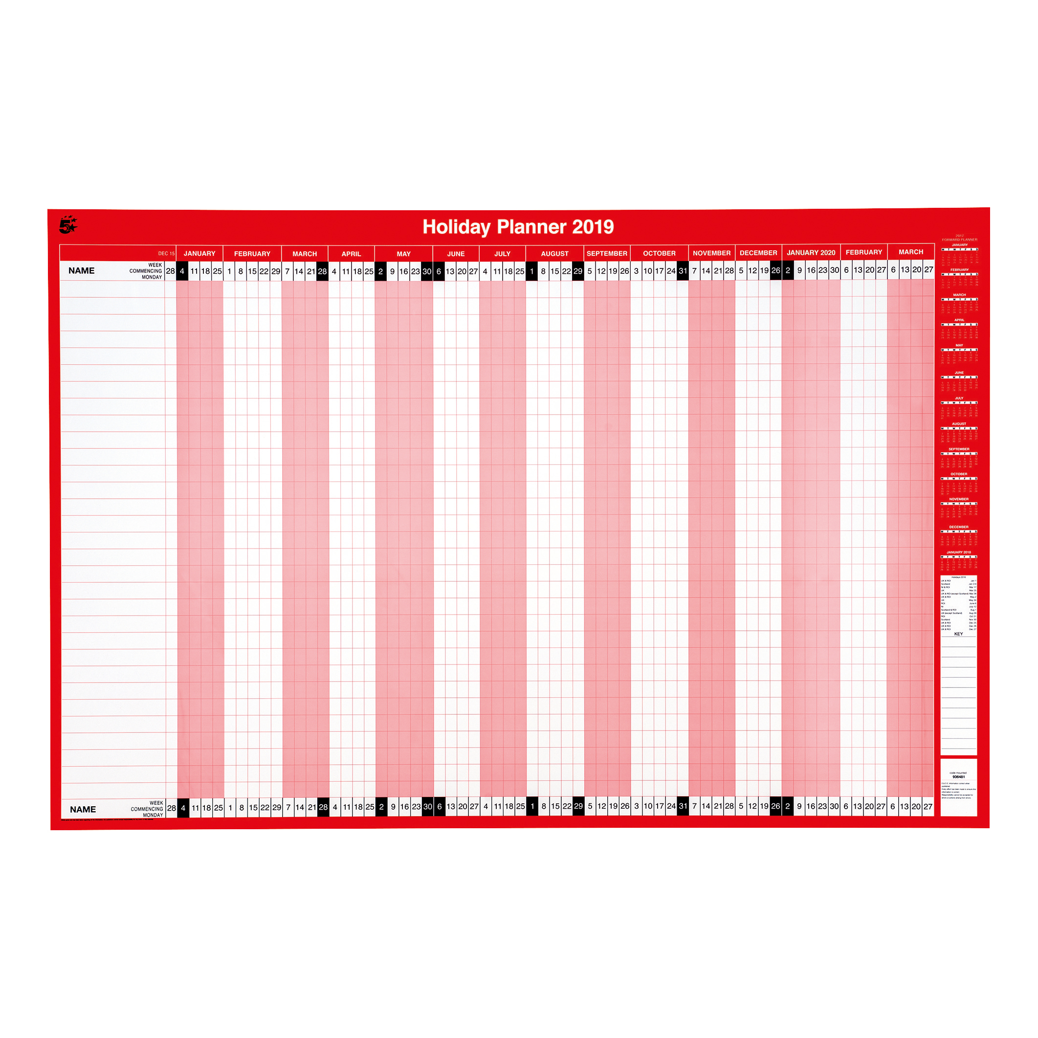 5 Star Office 2019 Holiday Planner Unmounted Landscape with Planner Kit 915x610mm Red