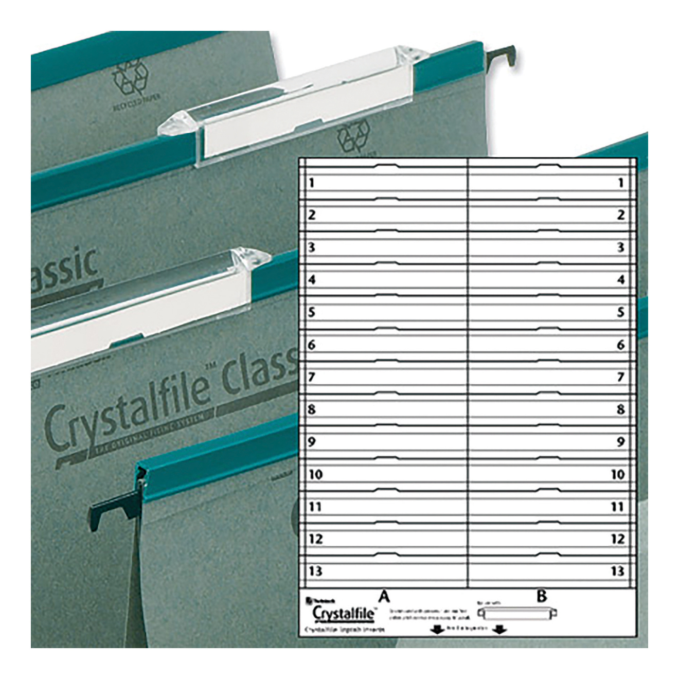 Rexel Crystalfile Classic Linking Suspension File Card Tab Inserts Extra-deep White Ref 78290 Pack 50