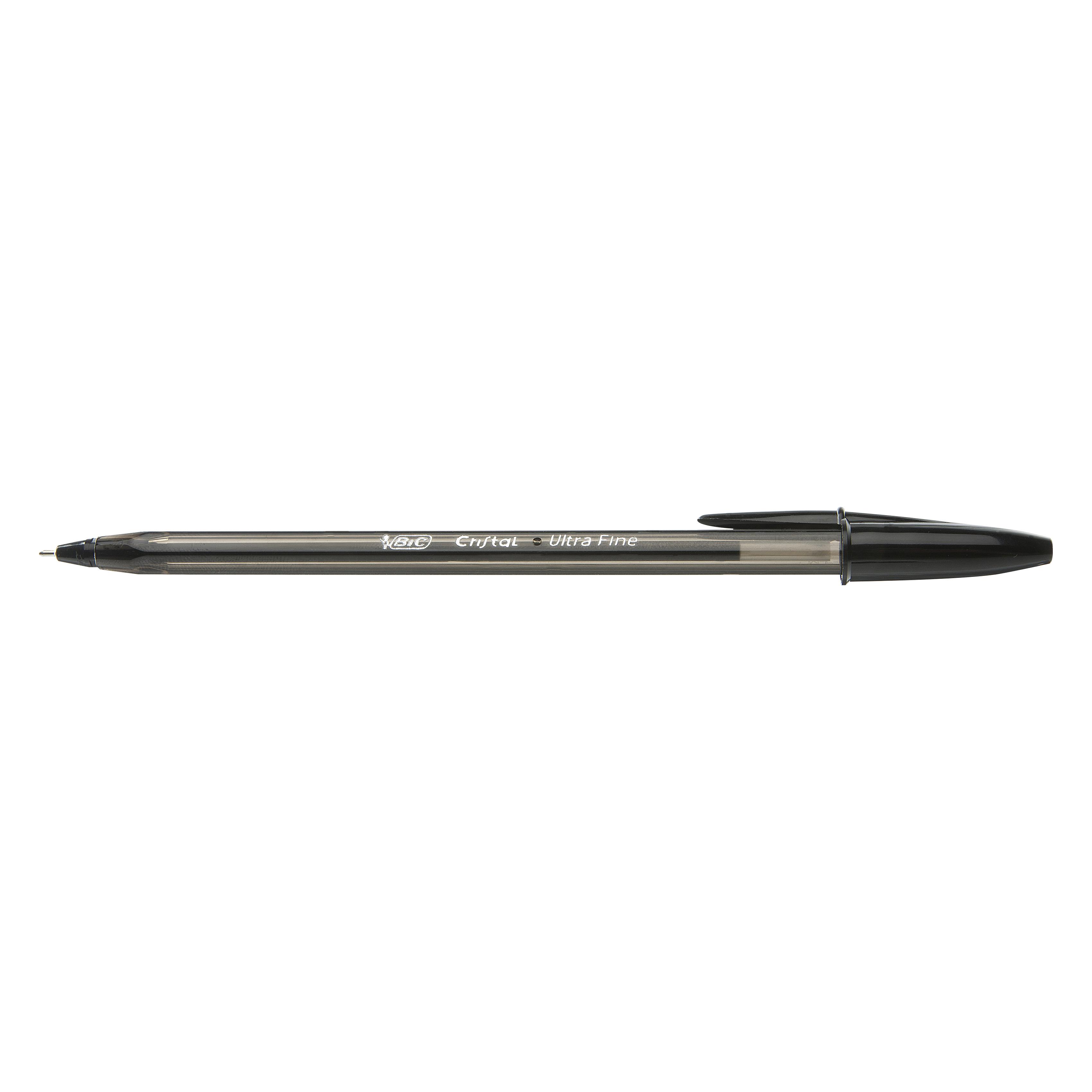 Ball point pens BIC Cristal Exact Ballpoint Pens Ultra Fine 0.7mm Tip Black Ref 992603 Pack 20