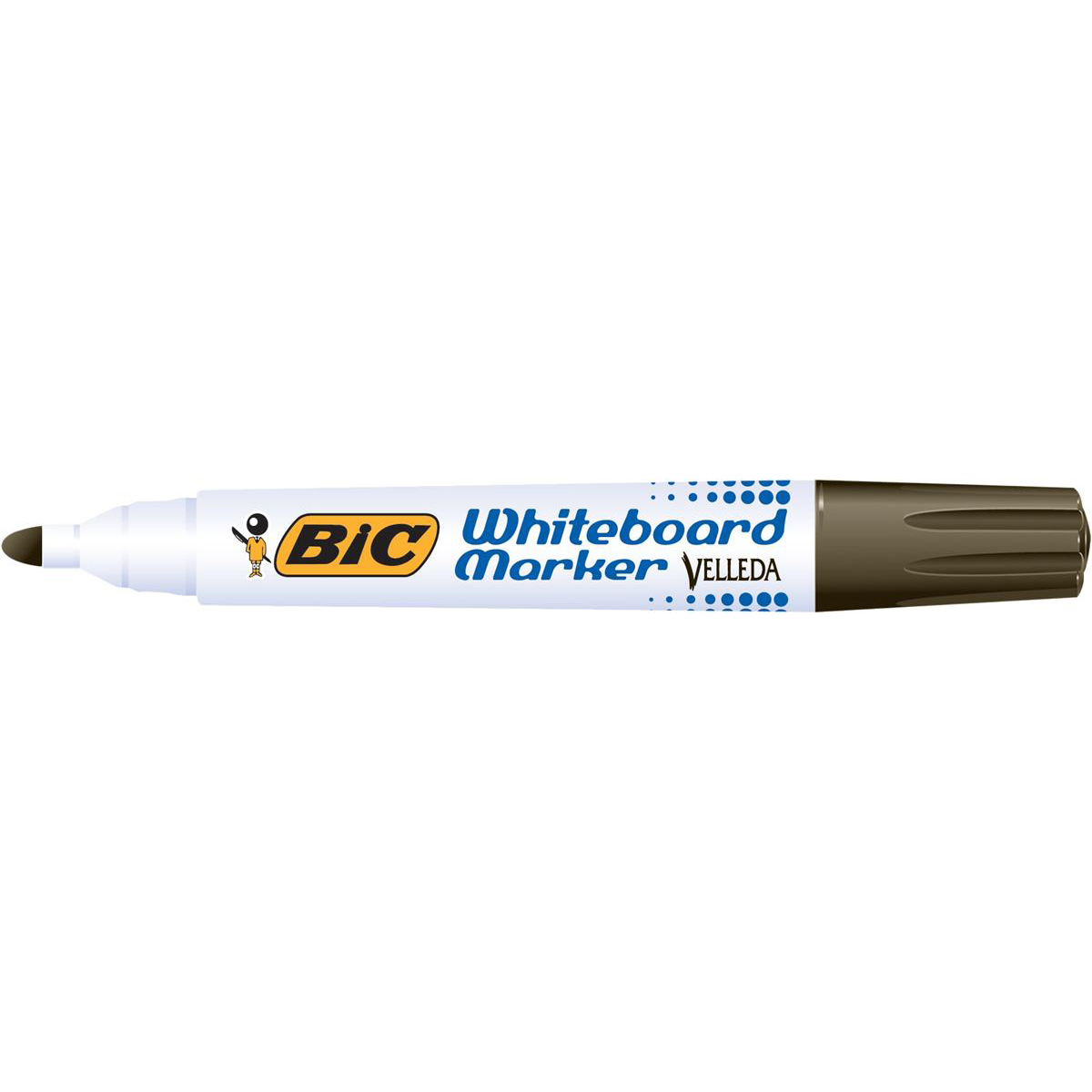 Bic Velleda Marker Whiteboard Dry-wipe 1701 Large Bullet Tip 1.5mm Line Black Ref 942234 Pack 12