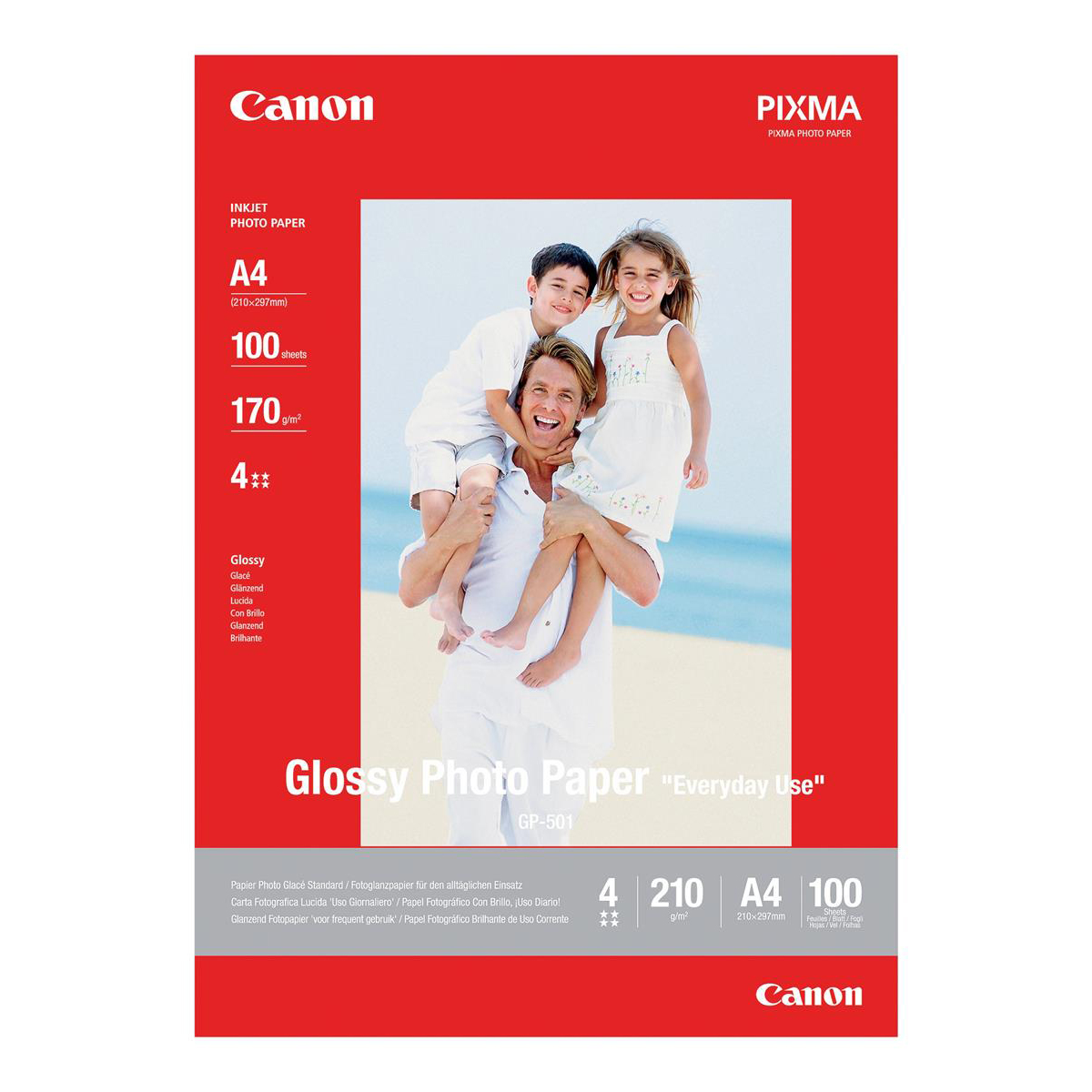 Photo Paper Canon GP-501 Photo Inkjet Paper Glossy 210gsm A4 Ref 0775B001 100 Sheets