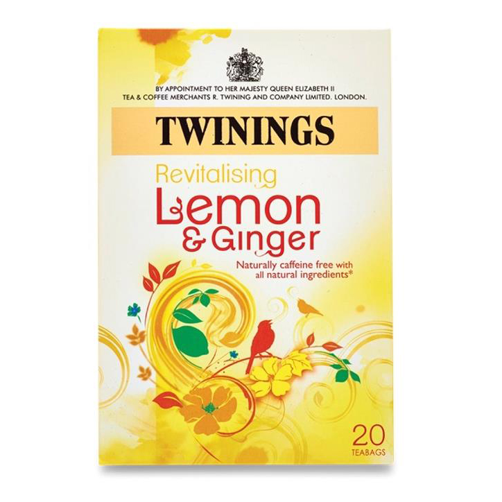 Twinings Infusion Tea Bags Individually-wrapped Lemon and Ginger Ref 0403156 Pack 20