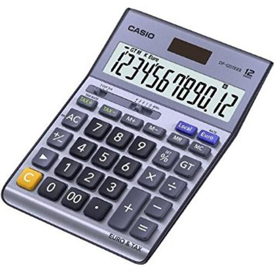 Casio Desktop Calculator 12 Digit 4 Key Memory Battery/Solar Power 126x36x175mm Silver Ref DF-120TER II