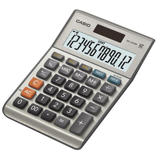 Desktop Calculator Casio Semi-desk Calculator 12 Digit 3 Key Memory Battery/Solar Power 103x31x145mm Silver Ref MS-120BM