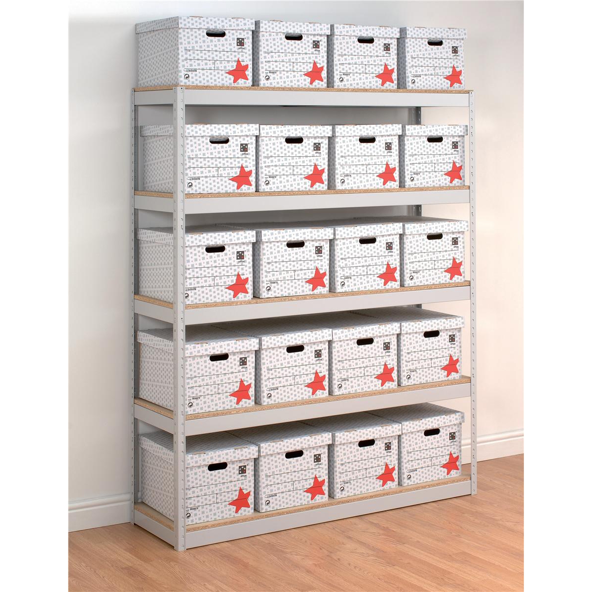Influx Archive Shelving Unit Heavy-duty Extra Wide 5 Shelves Capacity 100kg